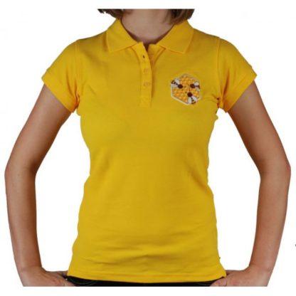 Футболка-поло с вышивкой, желтая