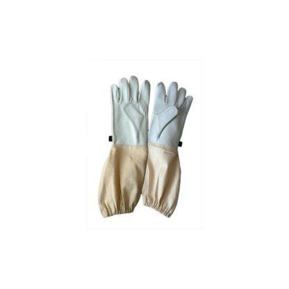 Перчатки кожаные c нарукавниками, белые