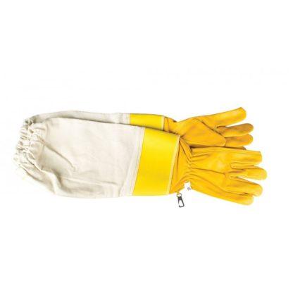 Перчатки кожаные, с нарукавниками, упроченные, желтые.