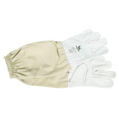 Перчатки кожаные с нарукавниками, белые, универсальный размер.
