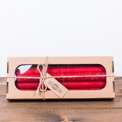 Набор свечей, высота 25 см, цвет красный